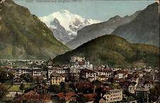 Interlaken Bern Schweiz Color Postkarte ~1910 gelaufen Teilansicht mit Jungfrau