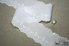 """14Yds Broderie Anglaise cotton eyelet lace trim 2.1"""" white YH1063 lacekingUSA"""
