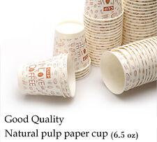 Disposalble Natural Pulp Paper Cup 6.5 OZ Paper Coffee Tea Cups 6Pack 300Pcs