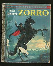 "Little Golden Book LGB Zorro 1958 ""C"" version .25 cent cover Walt Disney's"