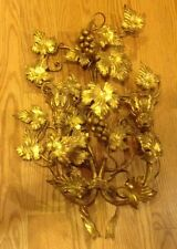 """Italian Gold Gilt 21"""" Metal WALL Candle SCONCE Italy Grape Vine Candle Holder"""