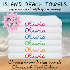 Personalised Beach Towels - Love Island Inspired Towels, Add Your Name, 3 Sizes