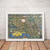 Melbourne City Print Vintage Landmark Art Poster - A4 to A0 Framed
