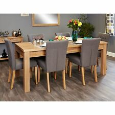 Mobel solid modern oak furniture extending dining table and six slate chairs set