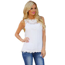 Womens Lace Vest T Shirt Loose Casual Blouse Tops Chiffon Tee Plain Plus Size
