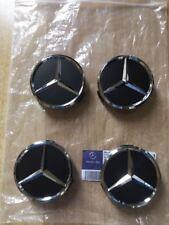 Mercedes 4 tappi ruota Coprimozzo stella Nero per cerchi in lega foro 75mm