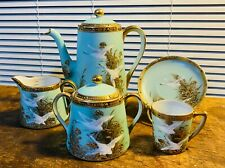 5 Piece Antique Nippon Flying Swan Gold Moriage Jewel Tea set Hand Painted Japan