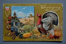 R&L Postcard: Thanksgiving, Embossed Turkey Farming Rural Scene, 1909
