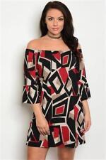 NEW..Stylish Plus Size Boho Retro Print Off the Shoulder Dress.SZ20/2XL