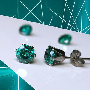 Titanium Rich Teal CZ Studs, 4mm 5mm & 6mm, Nickel Free Earrings, Cubic Zirconia