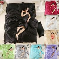 3/4Pcs SATIN SILK BEDDING SET DUVET COVER DOUBLE KING S.KING SIZE UK