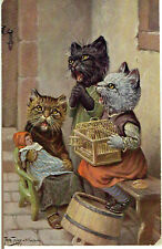 ARTHUR THIELE ARTIST SIGNED OLD POSTCARD ANTHROPOMORPHIC CATS SINGING DOLL 1922