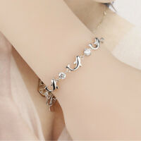 Purple Rhinestone Silver Dolphin Bracelet Amethyst Fashion Jewelry Bracelets