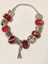 Perline di vetro di Murano con 925 Argento Sterling Ciondoli & Braccialetto Europeo-Rosso