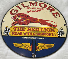 VINTAGE GILMORE GASOLINE PORCELAIN SIGN GAS STATION PUMP PLATE RED LION OIL