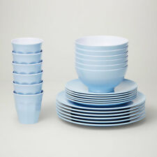 Barel Designs Classic Blue Melamine 24 Piece Dinner Set - Cups, Bowls, Plates