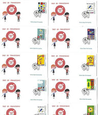 Greece 2019 - Children and stamps - 10 Fdc's from booklet Unofficial