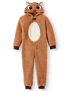 Rudolph Red Nose Reindeer One Piece Pajamas Union Suit Boy Girl XS 4 5 XL 14 16