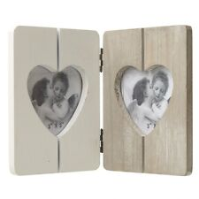 In legno doppio cuore Photo Frame Panel Design Marrone Crema 3 x 3 FOTO