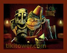 Tiki Bar Chimp Cocktail Ape Monkey Fez Man Cave Lowbrow Art Home Decor Print 1