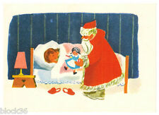 Vintage Russian postcard for New Year Santa brought the doll to sleeping girl