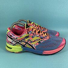 Asics Gel Noosa Tri-10 Women's Size 9 Running Shoes Neon Blue Pink Yellow T580N