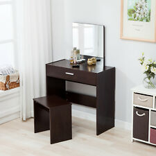 Espresso Vanity Mirror Dressing Table Makeup Desk and Stool Set with Drawer