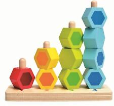 Hape Counting Stacker Pre-School Young Children Wooden Toy Game Bn