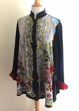 Harari -Sz M Most Elegant Art-to-Wear Rich Asian Floral Silk Tunic Top