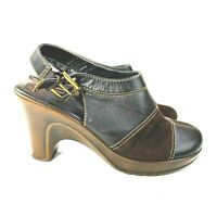 Tommy Hilfiger Womens 8M Brown Mable Suede Leather Mule Clog Shoe Heel Slip On