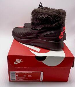 Nike Kaishi Hiver Haut Chaussures / Bottes Faux Fourrue Velours Marron / Pourpre
