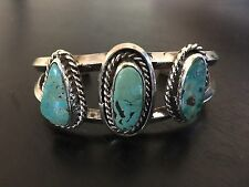 GORGEOUS OLD VINTAGE NAVAJO TURQUOISE & STERLING SILVER CUFF BRACELET 45.8 GRAMS