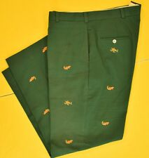 """O'Connell's 'Trout Flies' Embroidered Green Chinos"""" Sz: 40""""W"""
