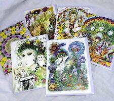 Set of Six Hippy greetings birthday cards Pagan Goddess wicca altar UK artist