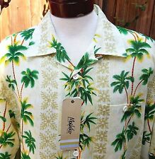 NWT Mens Aloha Hawaiian Tropical Palm Trees Bamboo Large Linen Blend Moshiko