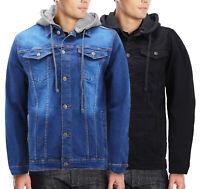 Men's Button Up Removable Hood Slim Fit Stretch Classic Denim Jean Jacket