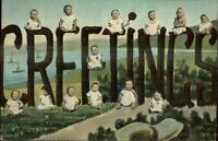 Multiple Baby Fertility Fantasy Large Letters GREETINGS c1910 Postcard