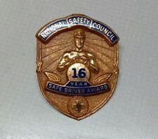 NATIONAL SAFETY COUNCIL 16 YEAR SAFE DRIVER AWARD PIN BADGE ENAMEL GREEN CROSS
