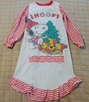 Vintage Snoopy Peanuts Nightgown Pajama Girls sz 8 Made USA Union Made Christmas