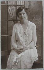 1910's Vintage Postcard Real Photo Ruth Rankin Wedding Dress Atlantic City, NJ