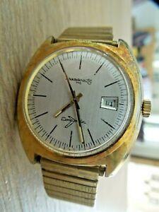 Herrenuhr ANKRA NAUTIC 710 Datumsanzeige Handaufzug goldfarben Vintage 50er Uhr