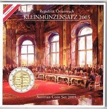 Kursmünzensatz Österreich, 2005, Staatsvertrag, handgehoben, stempelglanz