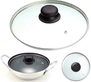 Glass Lid Pan Frying Saucepan Casserole Tempered Clear Glass 14 - 40 cm All Size