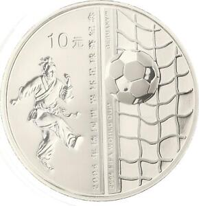 China - 10 Yuan 2005 - Fußball WM 2006 - Farbapplikation - Silber - PP Proof