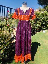 Vintage 70s Gunne Style Prairie Dress Angel Sleeves Mixed print Large