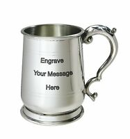 NEW Personalised 1 Pint Jacobean Polished Pewter Tankard Any Message Engraved