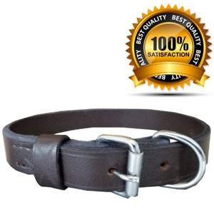 Leather Dog Collar Heavy Duty Pet Collar For Large Dogs/Puppies 4 Sizes S,M,L,XL