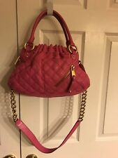 Marc Jacobs Quilted Genuine Leather Bright Pink Stam Satchel Bag Medium