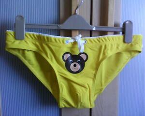 MARCUSE Lads Mens Swim Briefs Bright Yellow Bear Gay Interest BNWT Lycra Sleek