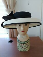 Vintage Peter Bettley London Hatblack and white with satin black bow